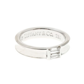 Tiffany & Co. 18K White Gold & Diamonds Stackable Ring Size 6