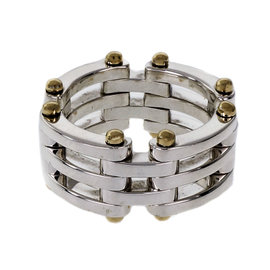 Tiffany & Co. 925 Sterling Silver & 18K Yellow Gold Mesh Gate Link Ring Size 6.5