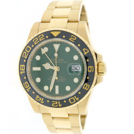Rolex GMT-Master II 116718 Yellow Gold Green Dial Ceramic Oyster 40mm Mens Watch