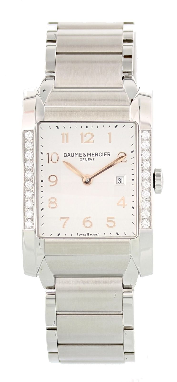 "Image of ""Baume & Mercier Hampton Moa10023 Stainless Steel with Diamonds Quartz"""