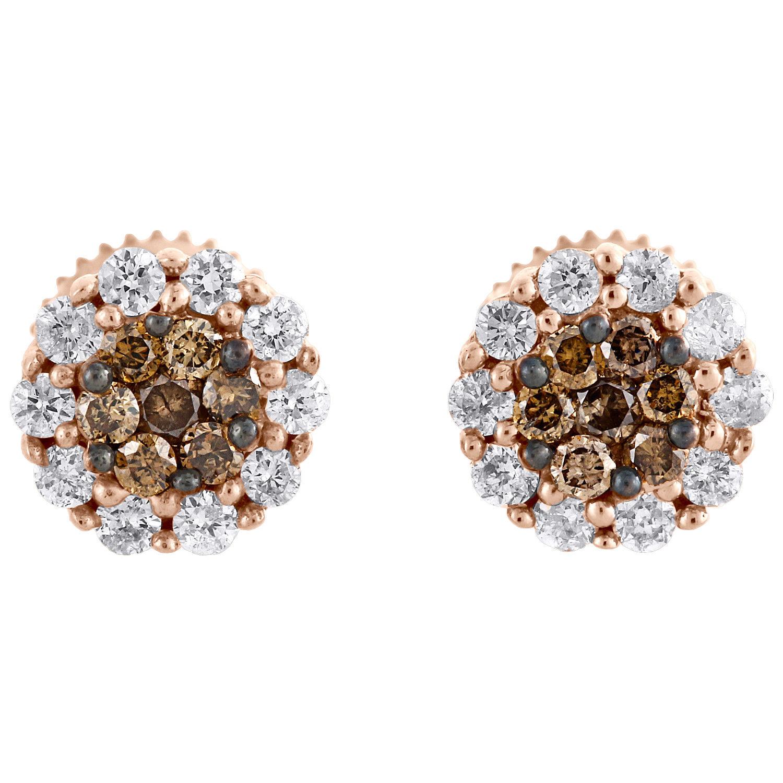 "Image of ""14K Rose Gold 0.50tcw Round Brown & White Diamond Flower Set Studs"""