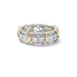 Tiffany & Co. Schlumberger Platinum 18K Yellow Gold 1.14ct Diamond Ring Size 7