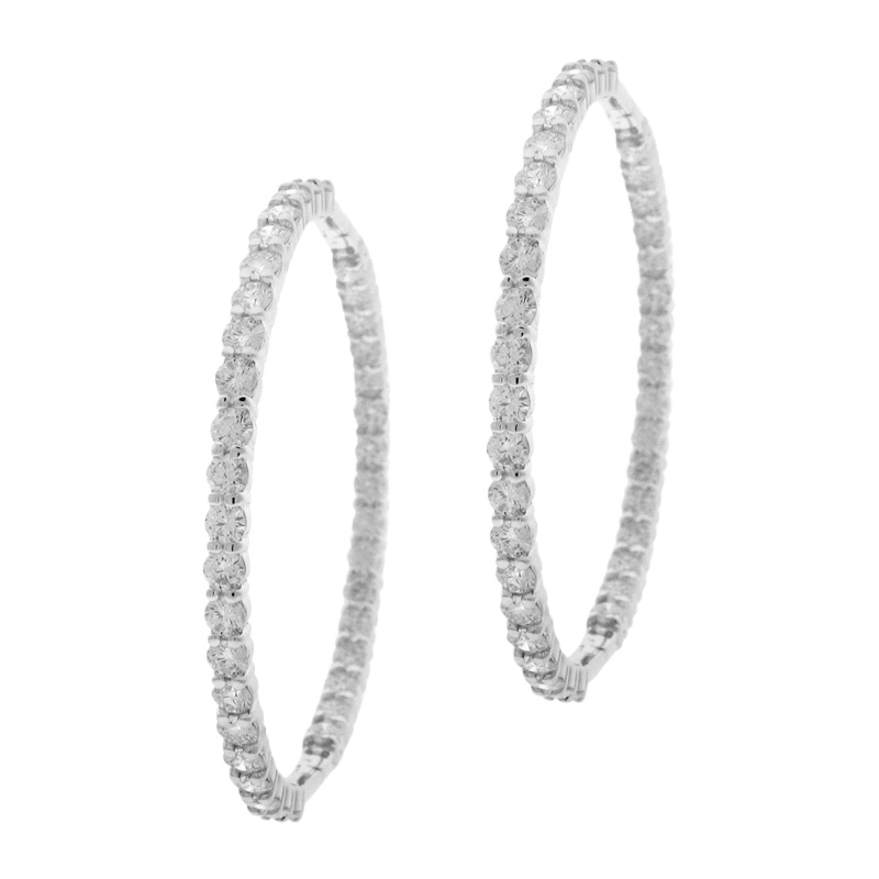 "Image of ""Roberto Coin 18K White Gold Round Hoop 7.55ct. Diamond Earrings"""