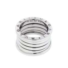 Bulgari B.Zero 1 18K White Gold Band Ring Size 6.5