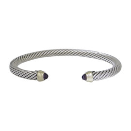 David Yurman 925 Sterling Silver 14K Yellow Gold Amethyst Cable Cuff Bracelet