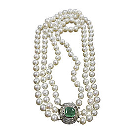 Vintage 14K White Gold with 4ct Emerald 2ct Diamond & 3 Strand Pearl Choker Necklace