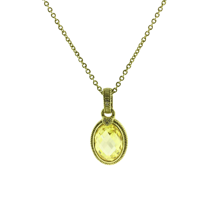 "Image of ""Judith Ripka 14K Yellow Gold with 0.04ct Diamond & Canary Quartz"""