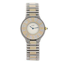 Cartier Must 21 Stainless Steel & 18K Yellow Gold Quartz 31mm Womens Watch 1980s
