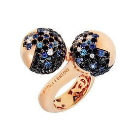 Pasquale Bruni Sogni 18K Rose Gold 0.26ct Diamond & Sapphire Ring Size 6.75