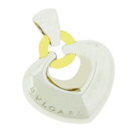 Bulgari 18K Yellow and White Gold Puffed Heart Pendant