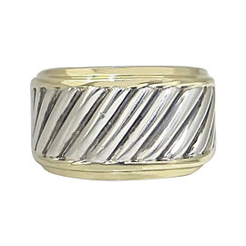 David Yurman 925 Sterling Silver & 14K Yellow Gold Cable Wide Band Ring Size 8.25