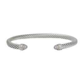 David Yurman 925 Sterling Silver with Diamond Cable Cuff Bracelet