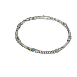 David Yurman Sterling Silver and 14K Yellow Gold with Blue Topaz Bead Cable Bracelet