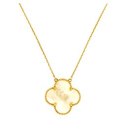 Van Cleef & Arpels Magic Alhambra 18K Yellow Gold & Mother of Pearl Pendant Necklace