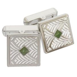 Cartier 925 Sterling Silver Belle Epoque Nephrite Cufflinks