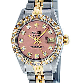 Rolex Datejust Stainless Steel and 18K Yellow Gold Salmon Diamond Dial 26mm Women's Watch