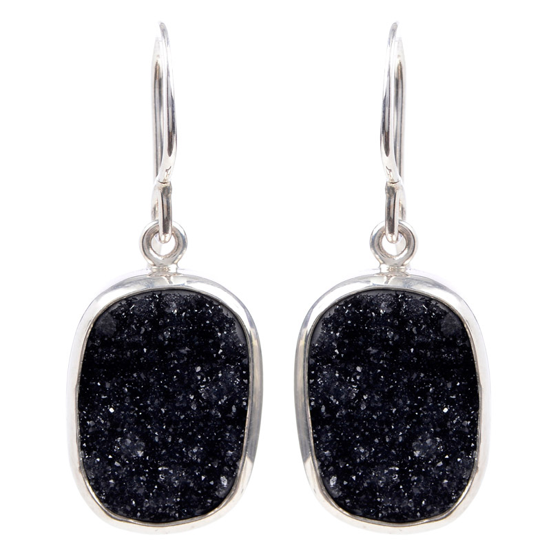 "Image of ""Melissa Joy Manning Black Drusy Earrings"""