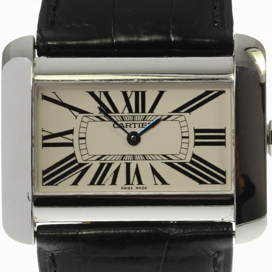 """Image of """"Cartier Tank Divan W6300655 Stainless Steel and Leather Quartz 38mm"""""""