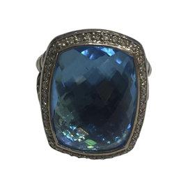 David Yurman Albion Sterling Silver Blue Topaz and Diamond Ring Size 7