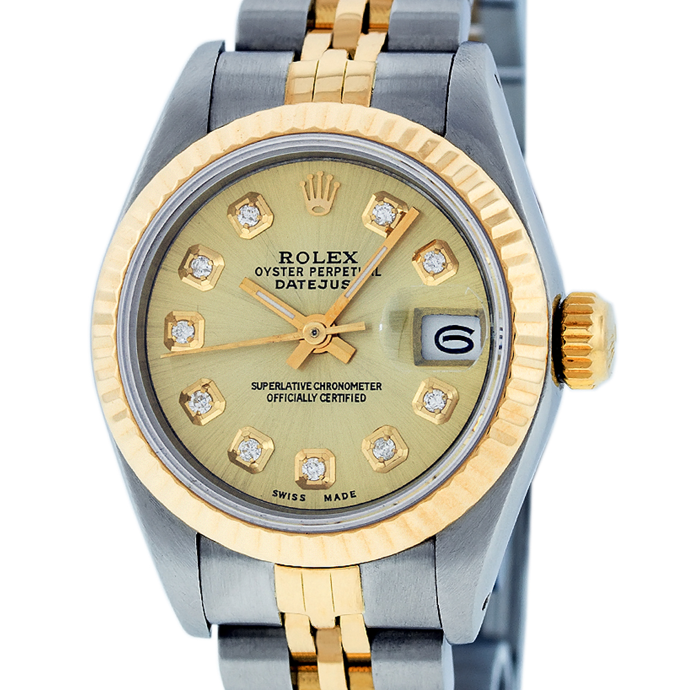 "Image of ""Rolex Datejust Stainless Steel and Yellow Gold Champagne Diamond Dial"""