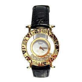 Chopard Happy Diamonds 18K Yellow Gold Leather Diamond Ruby & Sapphire 29mm Watch