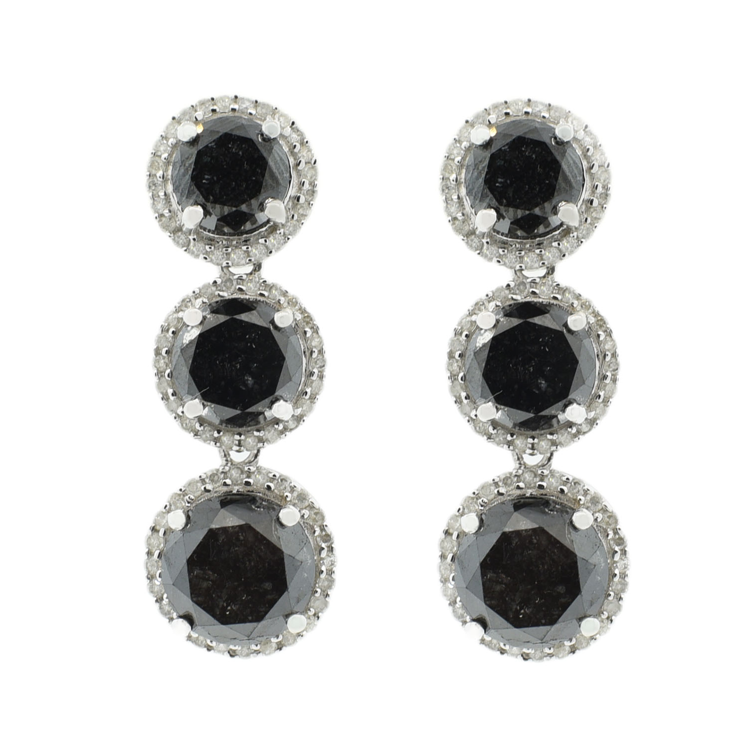 "Image of ""14Kt White Gold Diamond Dangle Earrings"""