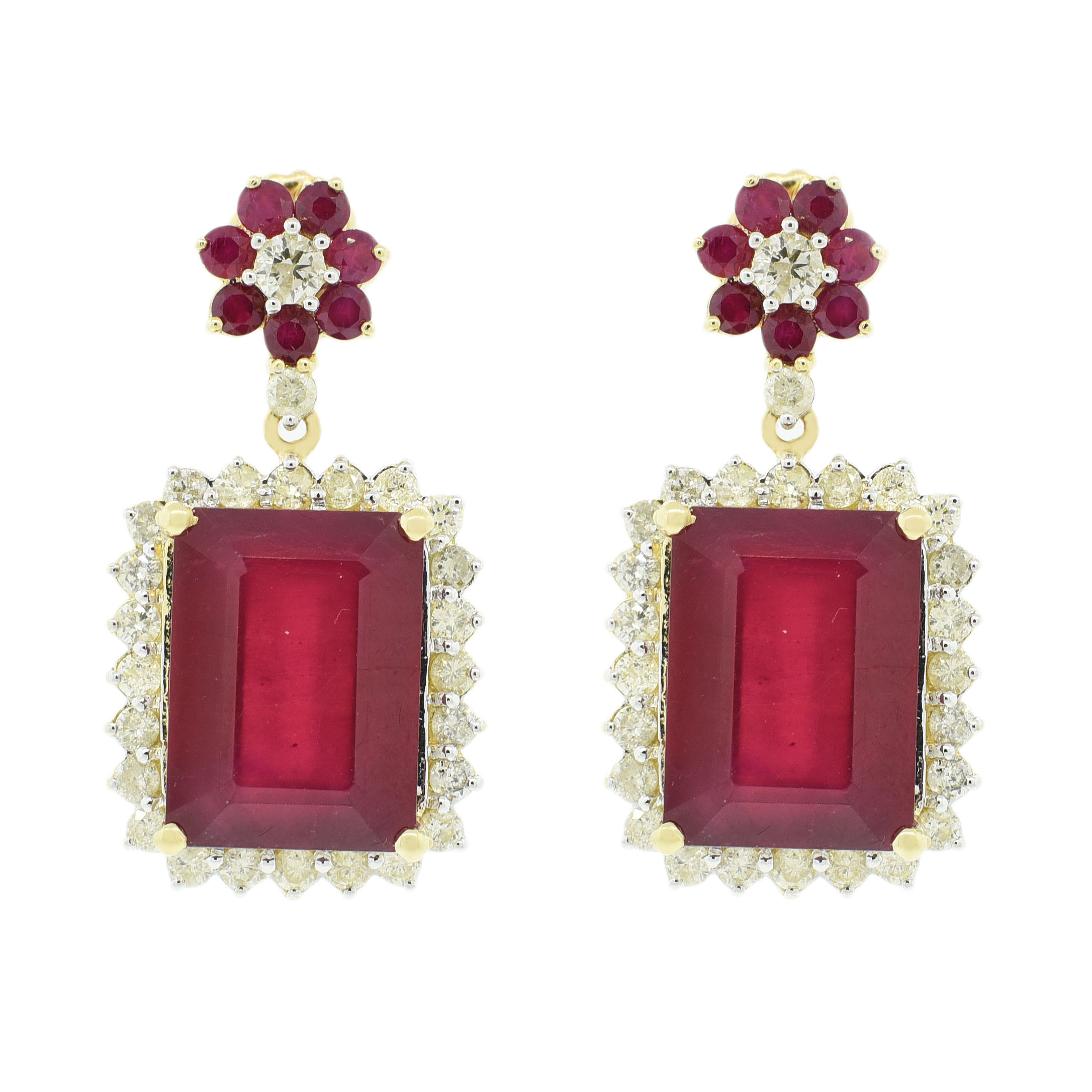 "Image of ""14Kt Yellow Gold Ruby and Diamond Dangle Earrings GIA Certified"""