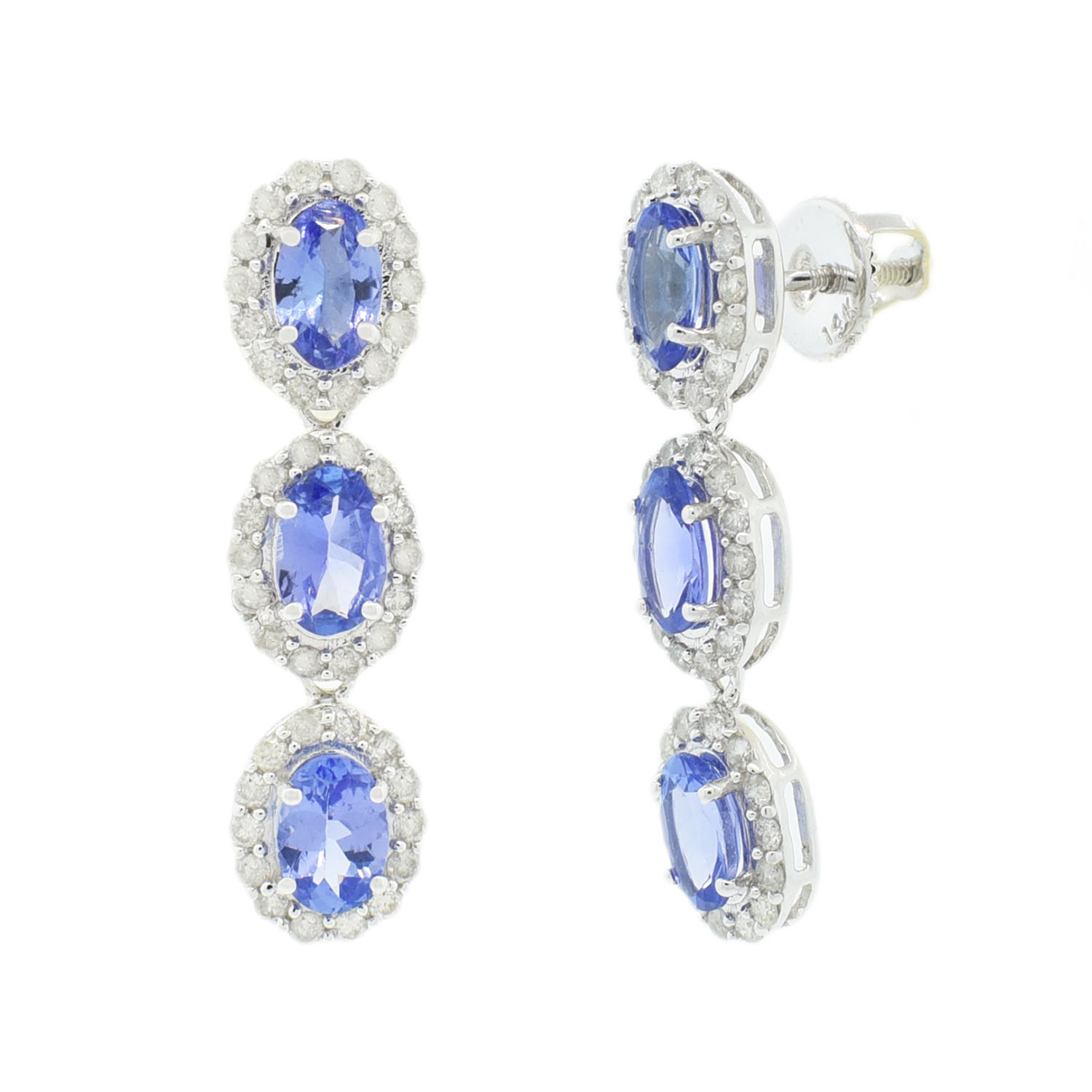 "Image of ""14Kt White Gold Tanzanite and Diamond Dangle Earrings GIA Certified"""
