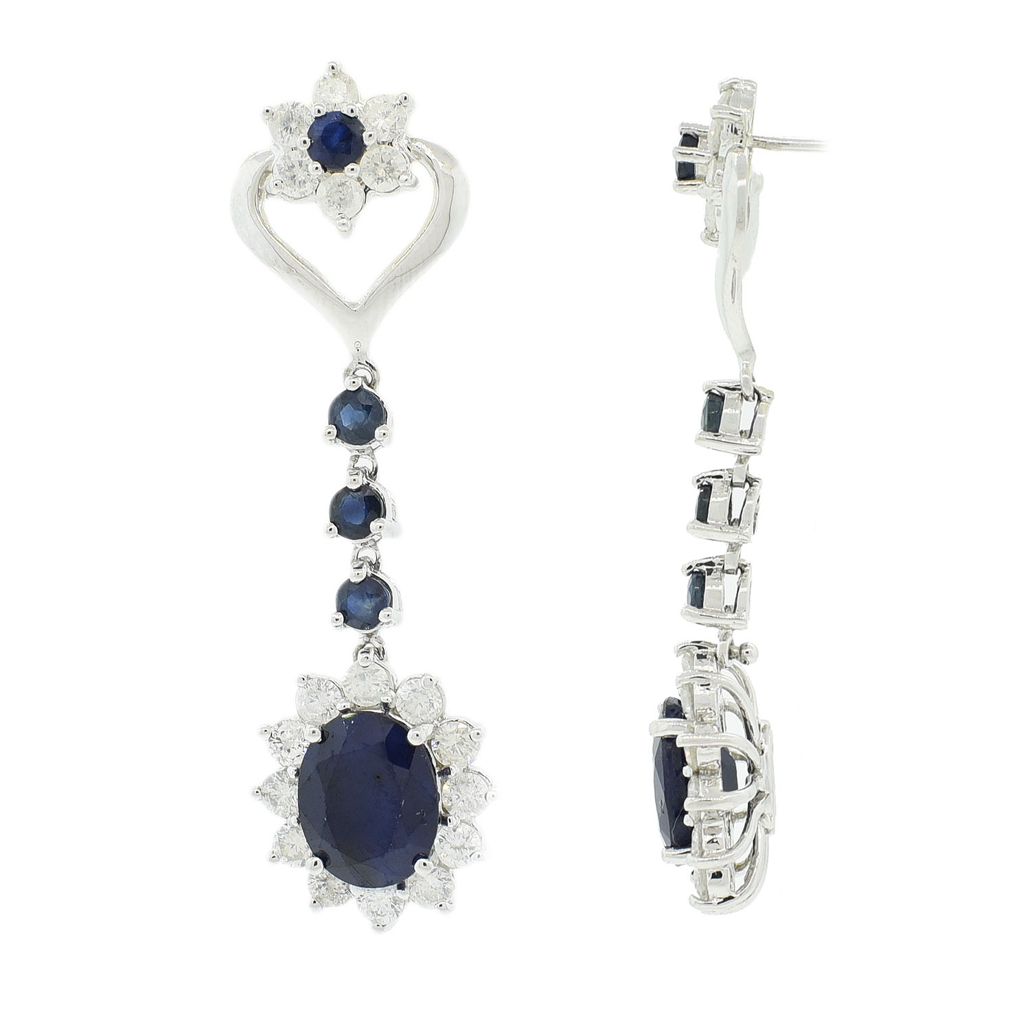 "Image of ""14Kt White Gold Sapphire and Diamond Dangle Earrings GIA Certified"""