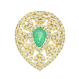 14KT Yellow Gold Emerald and Diamond Ring GIA CERTIFIED