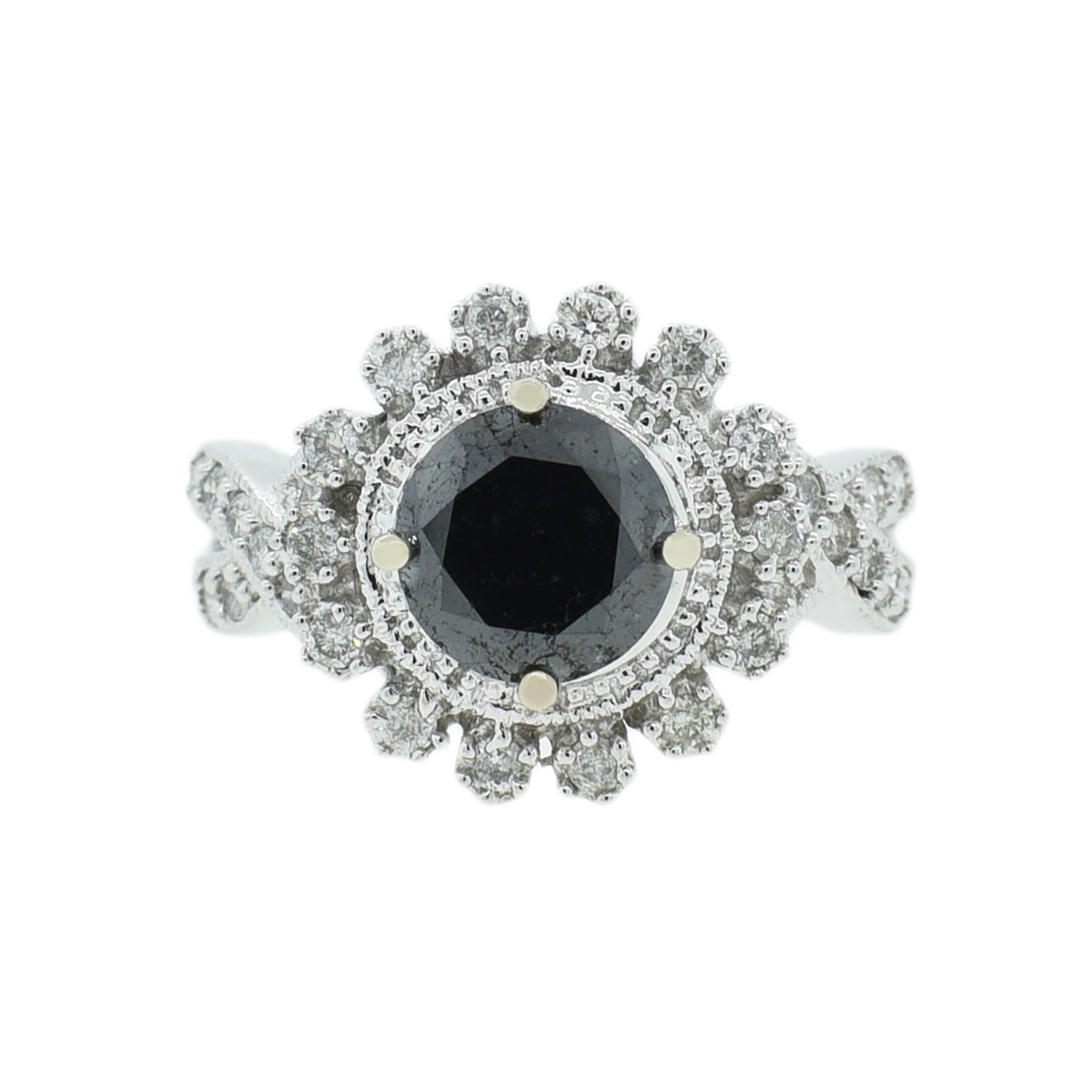 "Image of ""14Kt White Gold Black and White Diamond Ring"""