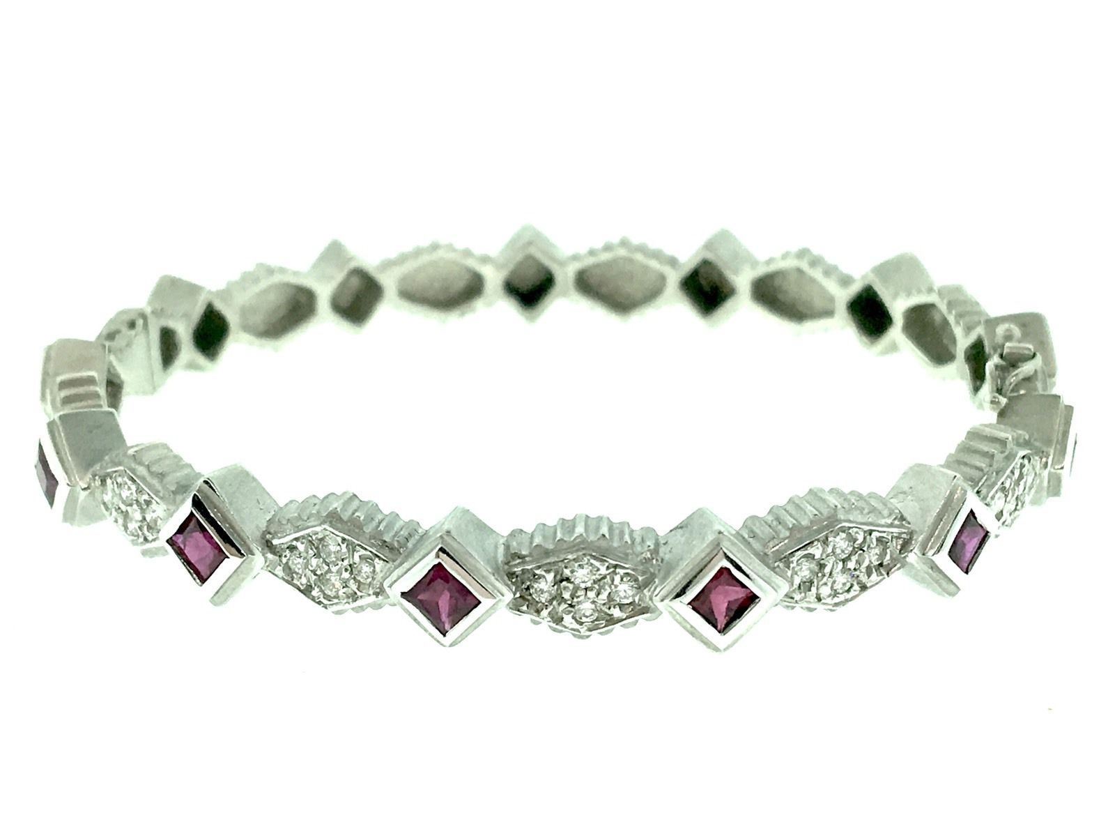 "Image of ""Doris Panos 18K White Gold Juliette Stackable Ruby & Diamond Bracelet"""
