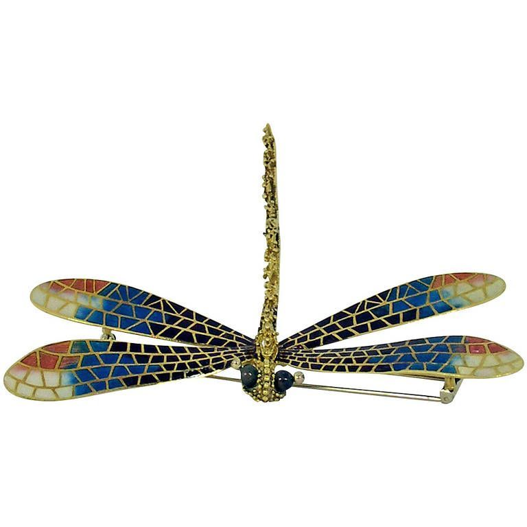 "Image of ""Large Enamel Diamond Gold Dragonfly Brooch"""