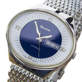 Bulova Double Date NR54 Stainless Steel Automatic Mens Dress 70s Watch