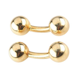 Tiffany & Co. 18K Yellow Gold Round Ball Curved Cufflinks