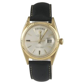 Rolex Oyster Perpetual Day-Date 18K Yellow Gold Vintage 35mm Mens Watch