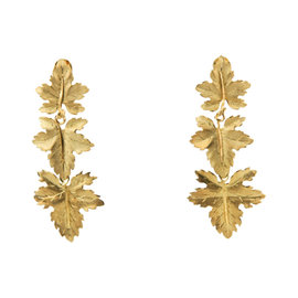 Buccellati 18K Yellow Gold Maple Leaf Clip-On Dangling Earrings