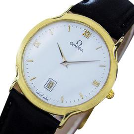 Omega Deville Quartz Solid 18K Gold Men's Swiss Made Dress Watch