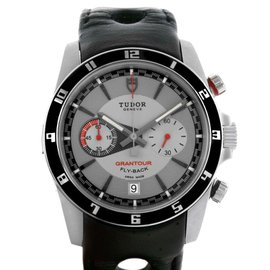Tudor 20550N Grantour Grey Dial Black Leather Strap Steel Watch