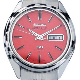 Seiko 5 Actus Day Date Automatic Vintage Coral Pink Dial Mens Watch