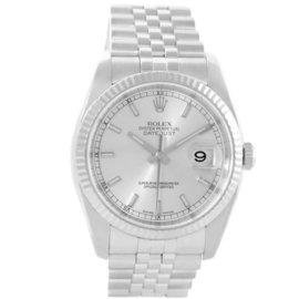 Rolex 116234 Datejust Steel 18K White Gold Silver Baton Dial Watch