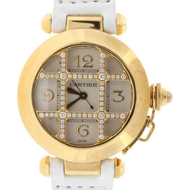 Cartier Pasha WJ11951G Gold Diamond Grid Womens Watch 32mm