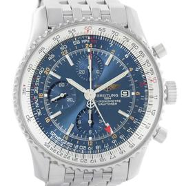 Breitling Navitimer A24322 World GMT Chronograph Blue Dial Mens Watch