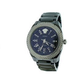 Versace DV One Black Ceramic Diamond Automatic Womens 41mm Watch