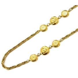 Chanel Gold Tone Metal Coin Long Necklace
