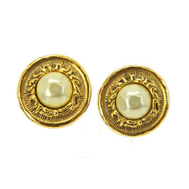 Chanel CC Logo Gold Tone Metal Fake Pearl Round Earrings