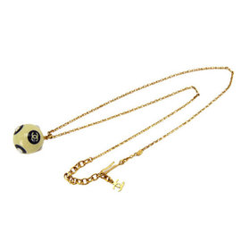 Chanel Gold Tone Metal Logo CC Coco Mark Ball Type Chain Pendant Necklace