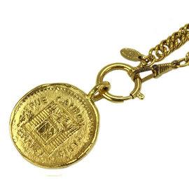 Chanel Gold Tone Metal Paris Cambon Coin Necklace