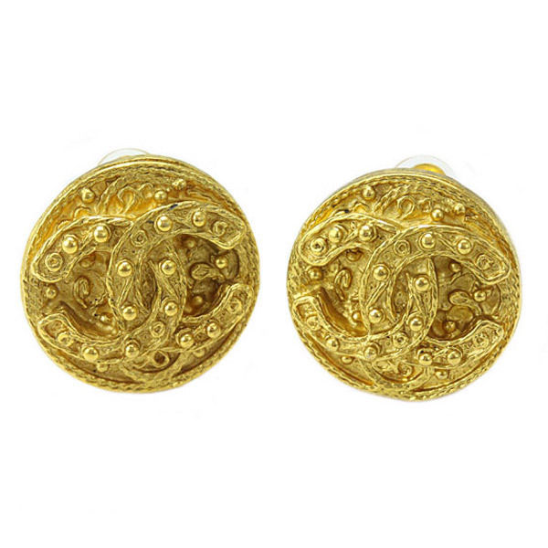"Image of ""Chanel Gold Tone Metal Round Type Coco-Mark CC Logo Earrings"""