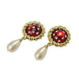 Chanel Gold Tone Metal Fake Pearl Rhinestone Earrings